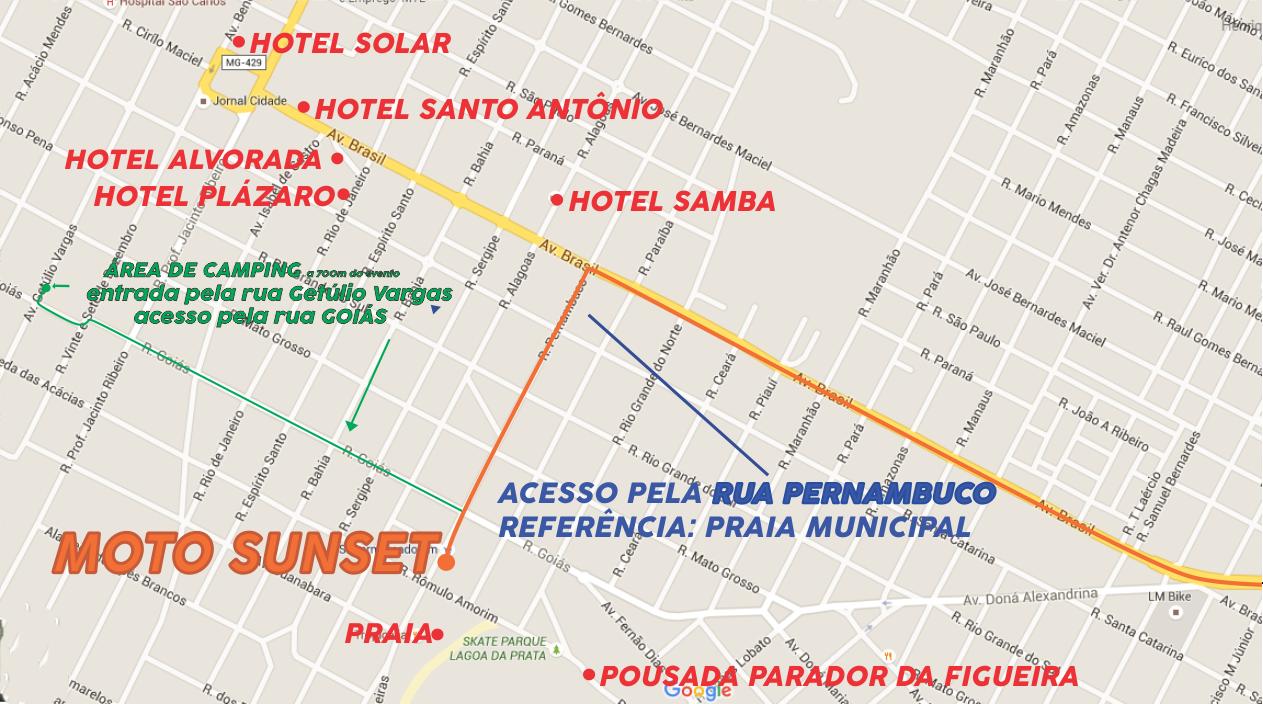 Mapa dos Hotéis de Lagoa da Prata